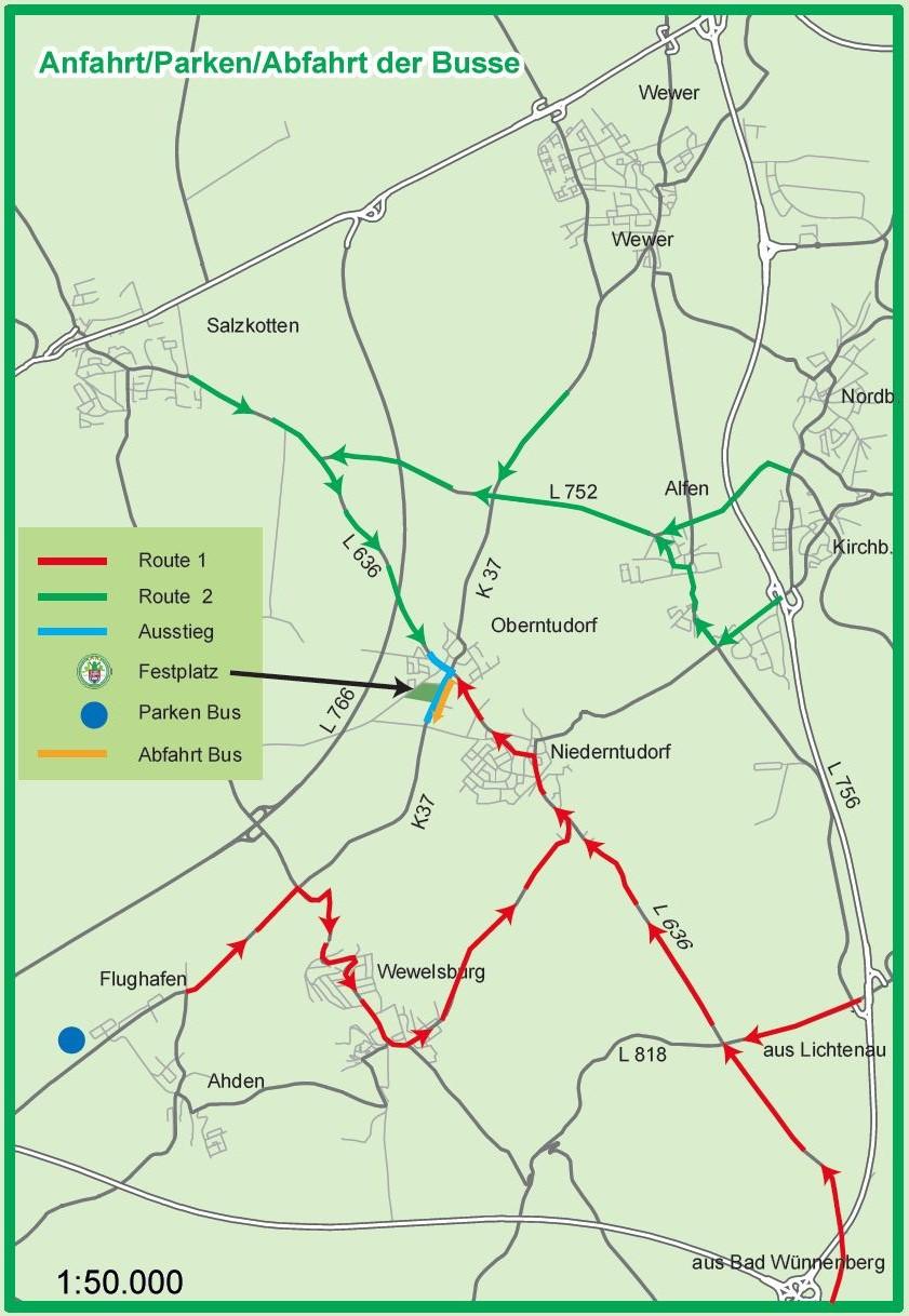 Anfahrtsübersicht Routen